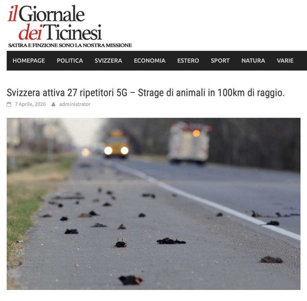 Svizzera attiva 5G - Strage di animali. La bufala web, la fake news degli uccellini morti a causa delle antenne e ripetitori 5G.