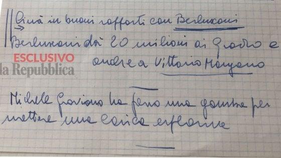 """""""Berlusconi paga i boss di Cosa nostra"""". Ecco l'appunto di Falcone ritrovato nel suo ufficio"""